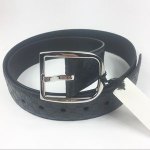 "Gucci #449716 Black Micro-GG Belt 38""-42"" (105-42)"